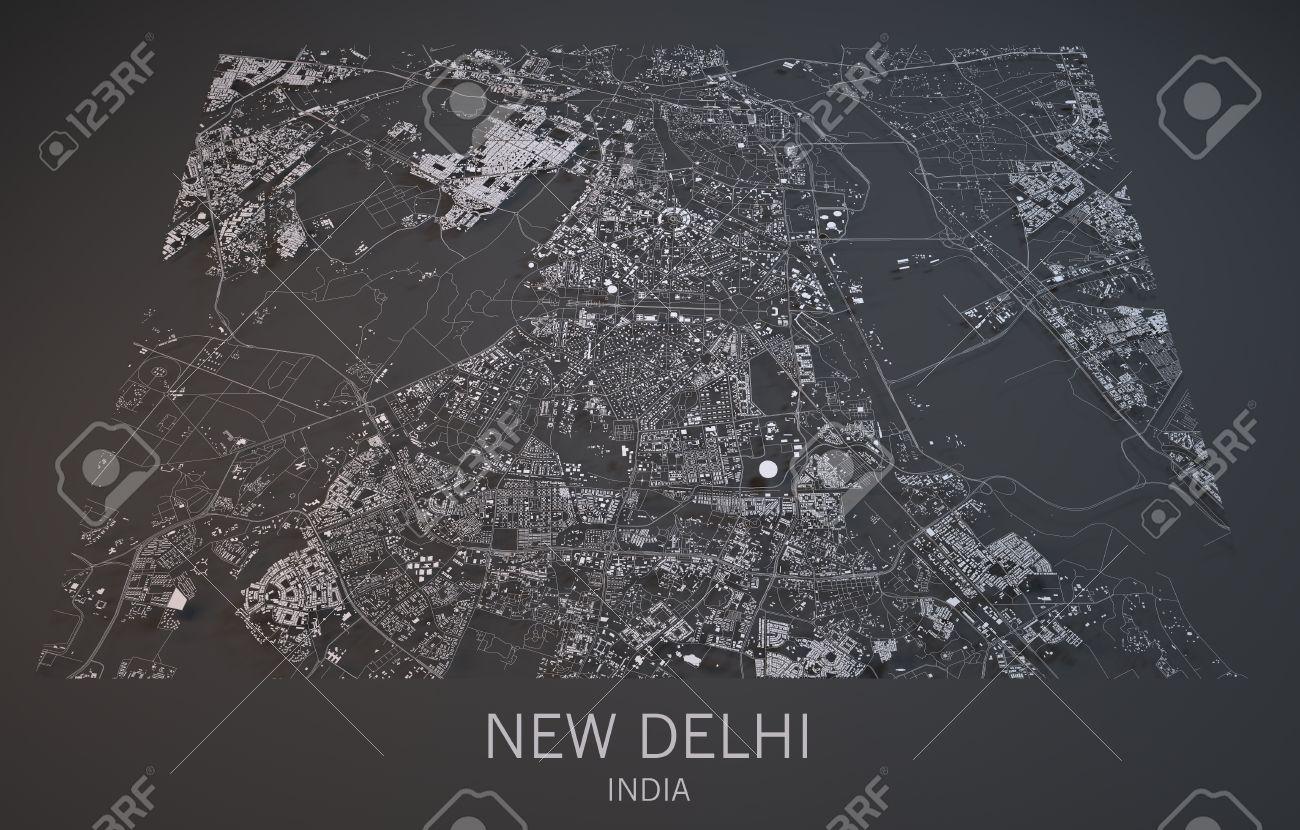 Satellite Map Of Delhi Map Of New Delhi, India, Satellite View, Map In 3d Stock Photo