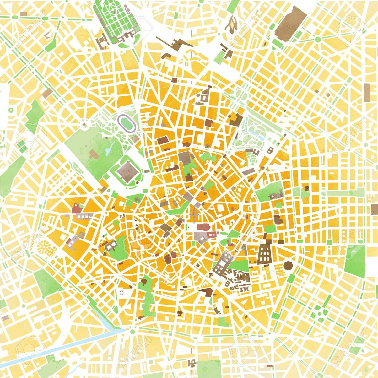 Italy Map Milan.Map Milan Hand Drawn Strokes Roads And Streets Italy Stock Photo