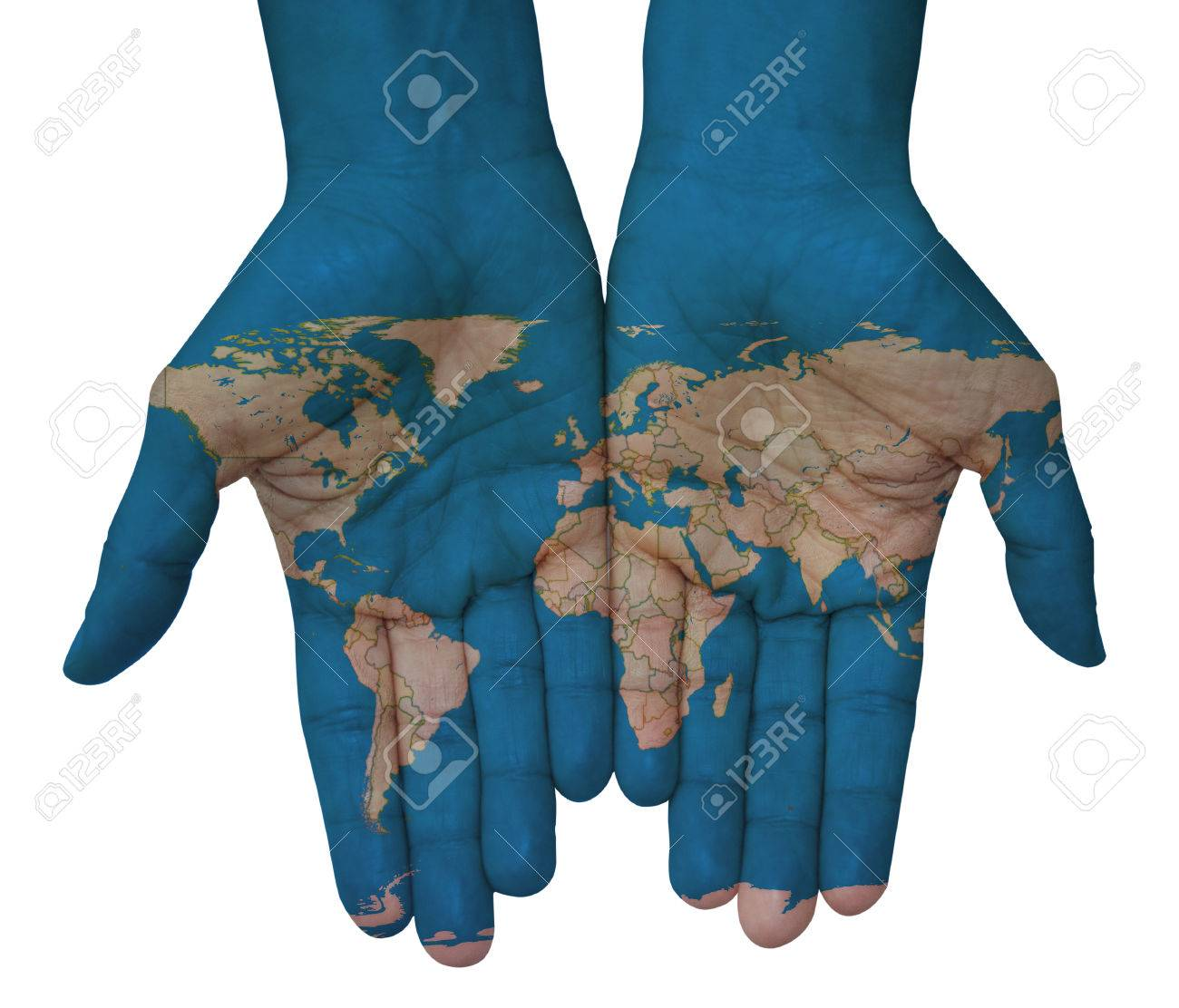 Hands with world map map of the world drawn stock photo picture hands with world map map of the world drawn stock photo 48862208 gumiabroncs Image collections