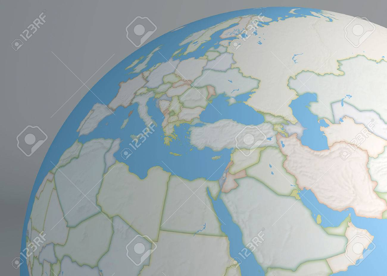 Planisphere Map Globe Middle East Europe Africa And Asia Stock