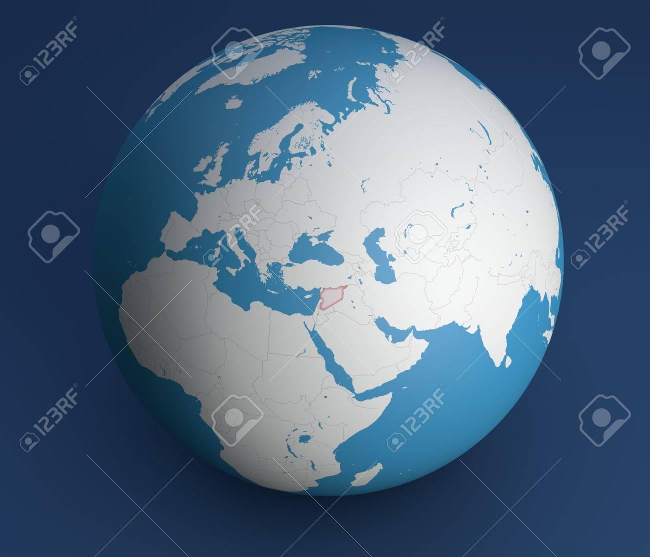 Planisphere map globe syria middle east europe africa and planisphere map globe syria middle east europe africa and asia stock photo gumiabroncs Choice Image
