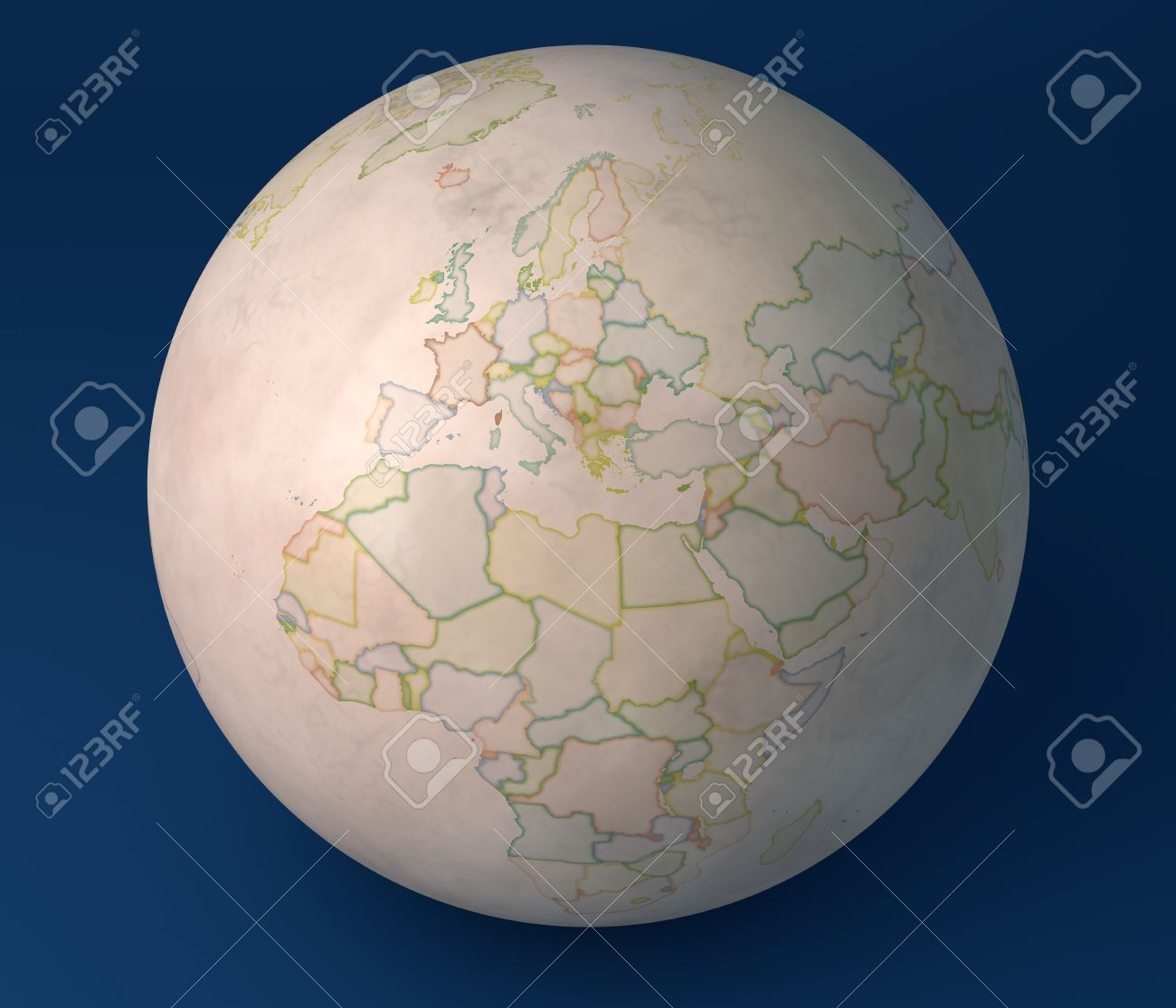 Old Map Globe, Europe, Africa, Asia And The Middle East Stock