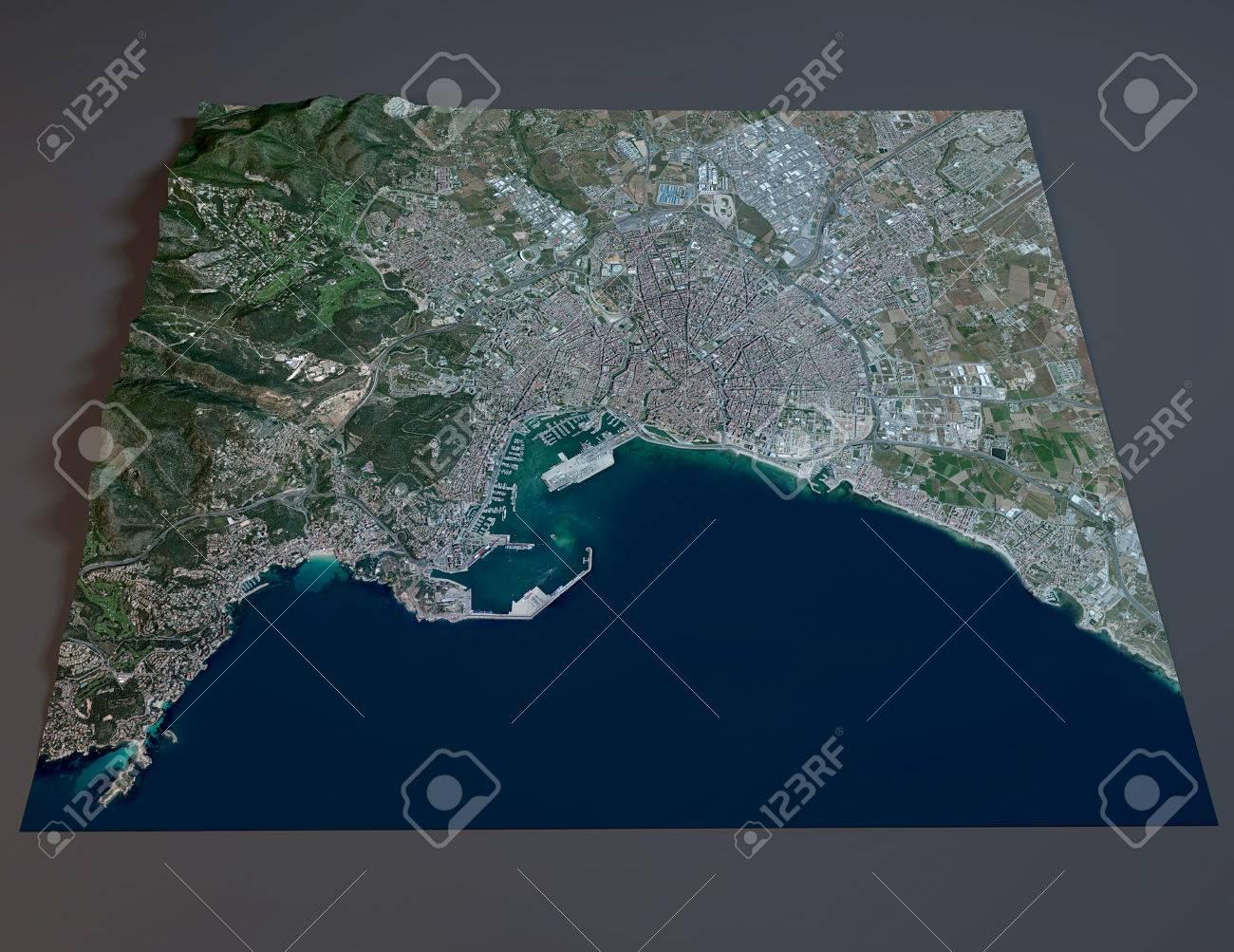 Satellite Map Of Spain.Palma De Mallorca Satellite View Map Balearic Spain