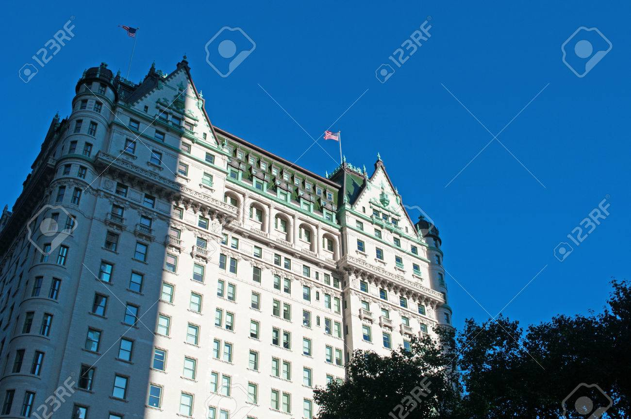 The Plaza hotel, historical building in New York City skyline, flags, architecture - 50893989