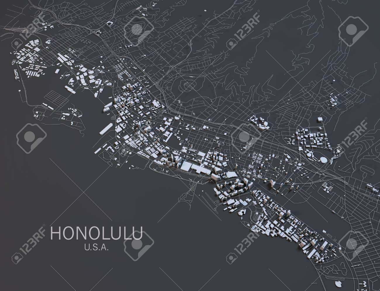 Honolulu Map, Satellite View, United States Stock Photo, Picture And on