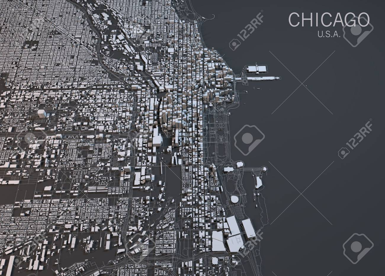 Chicago map satellite view United States Stock