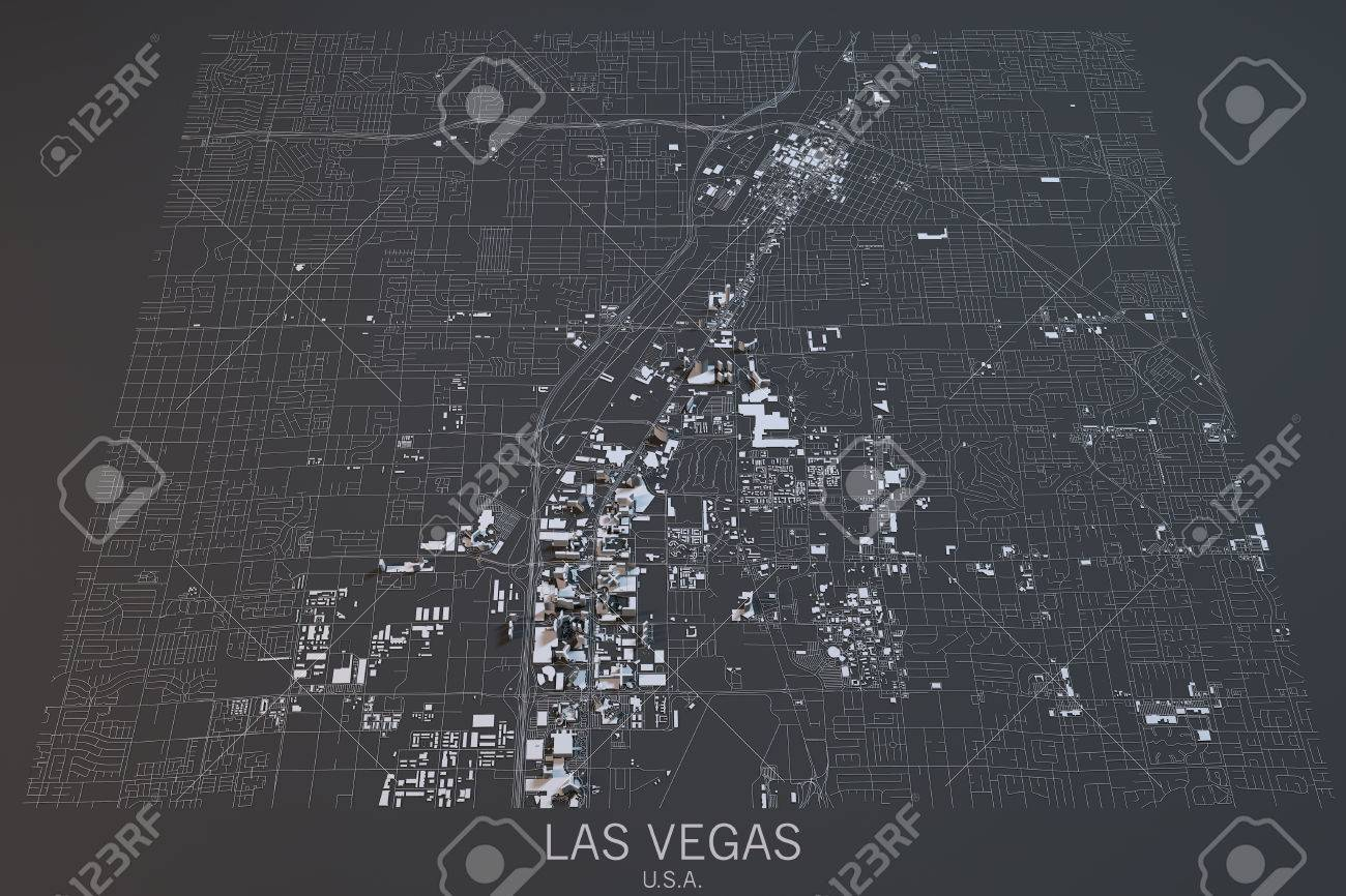 United States Map Satellite.Las Vegas Map Satellite View Nevada United States Stock Photo