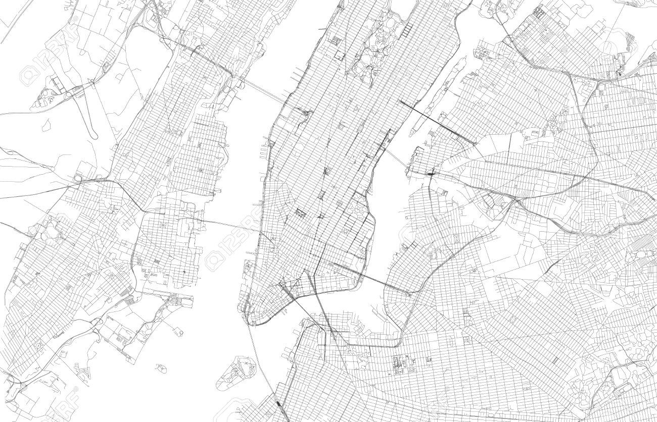 Map Of New York City Satellite View Streets And Highways Of - New york city map drawing