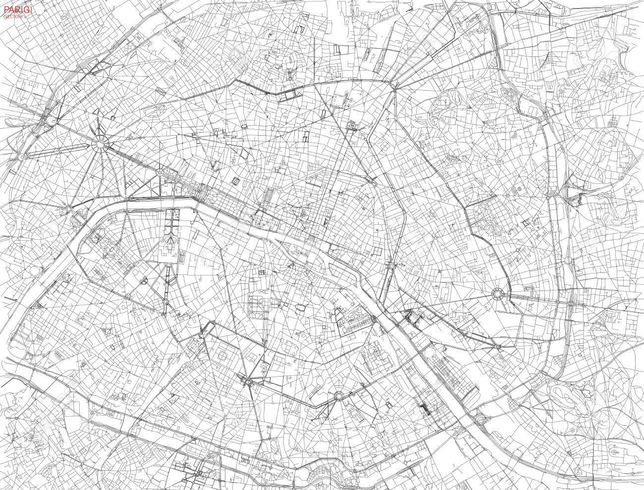 フランス パリ衛星ビュー通り高速道路の地図のイラスト素材