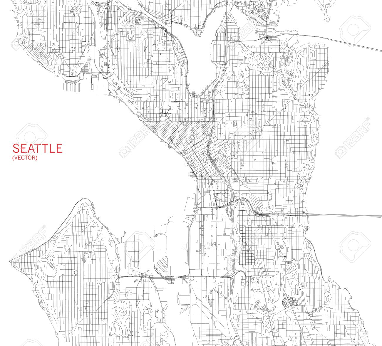 Map of Seattle, satellite view, streets and highways, USa - 56342169