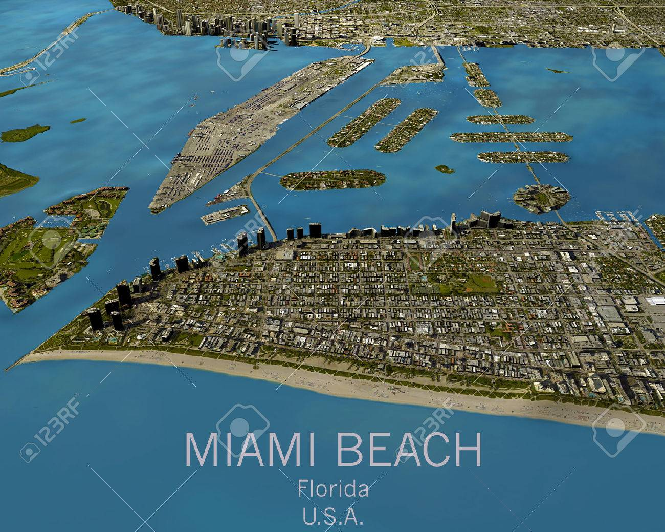 Miami Map Satellite View Aerial View Florida United States Stock