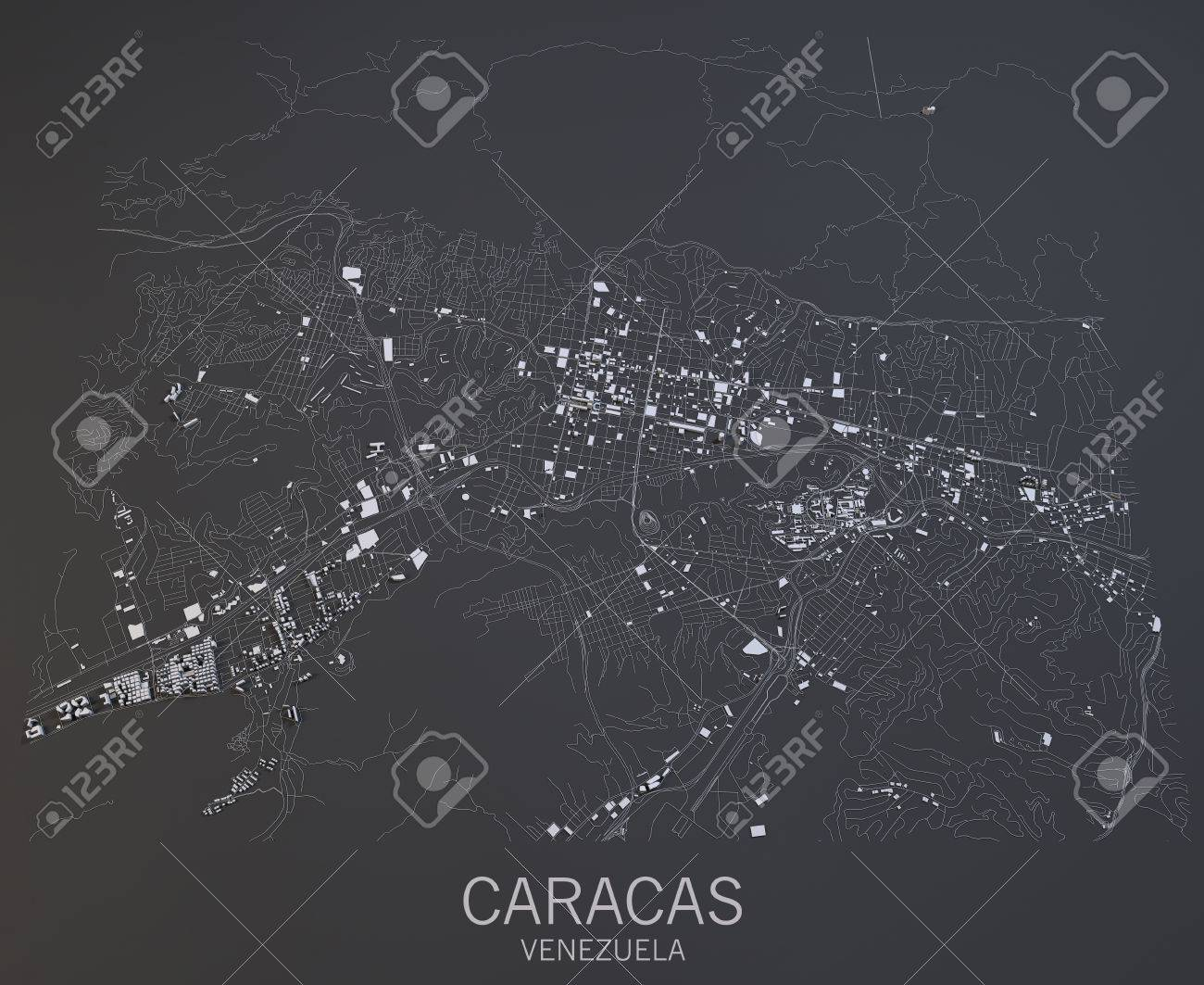 Caracas Map Satellite View Venezuela Central America Stock Photo