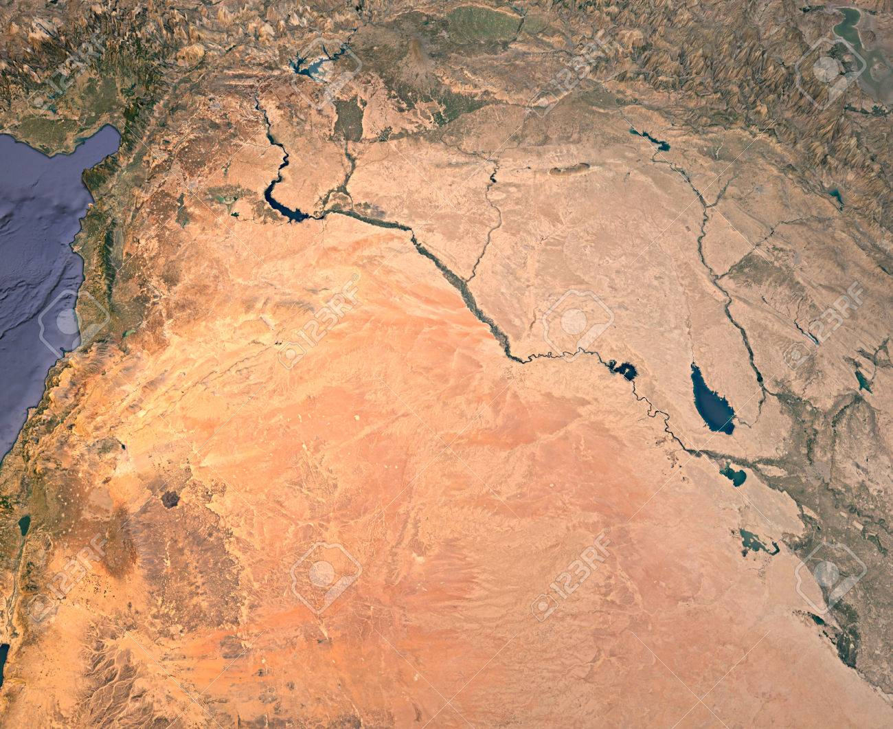 Syria and Iraq, satellite view, map, 3d rendering, land, middle..