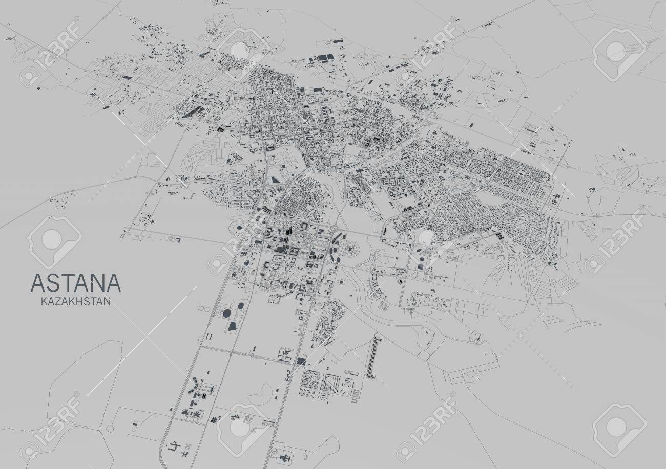 Satellite View Of The City Of Astana Map Kazakhstan 3d Rendering