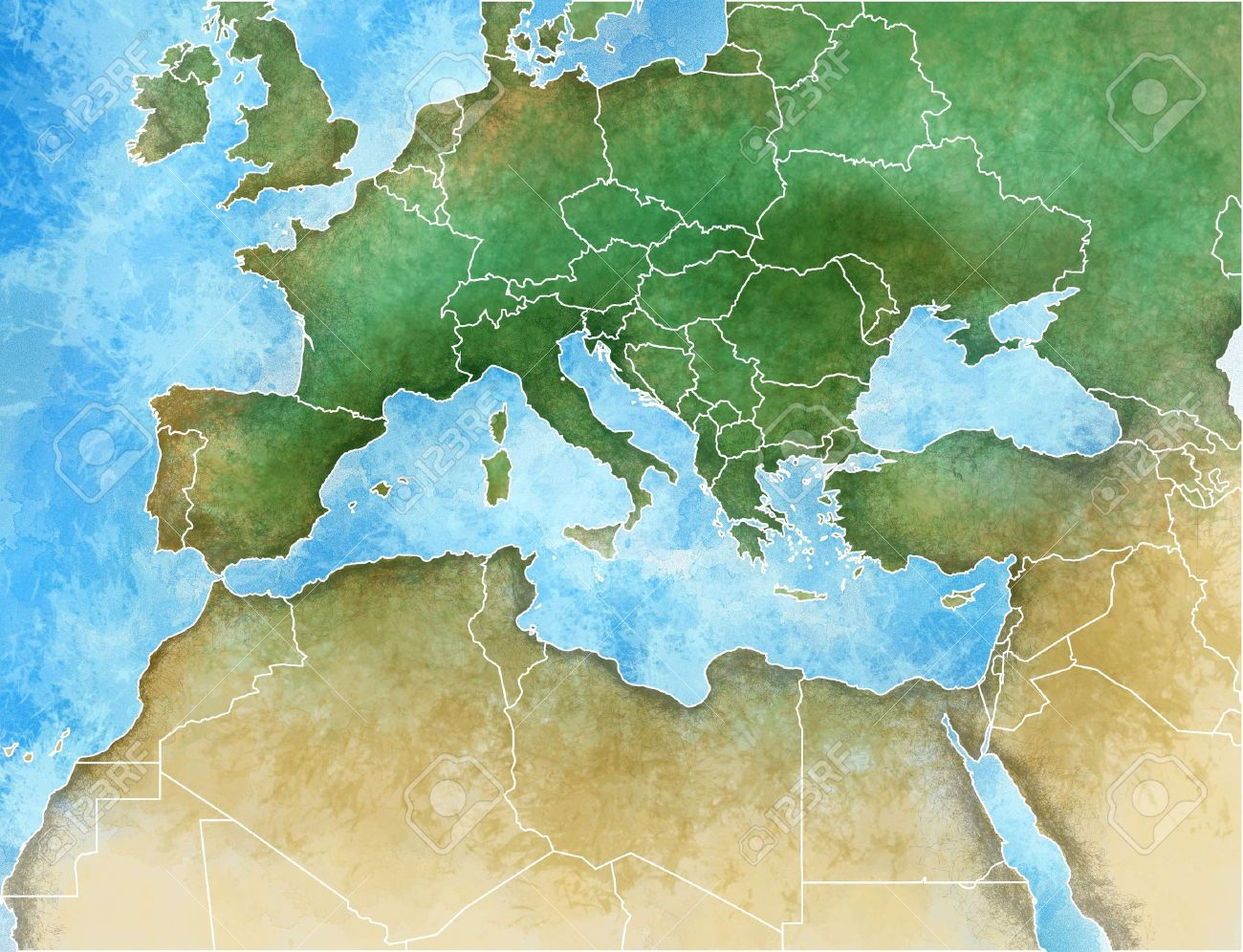 Hand-drawn map of the Mediterranean, Europe, Africa and Middle..