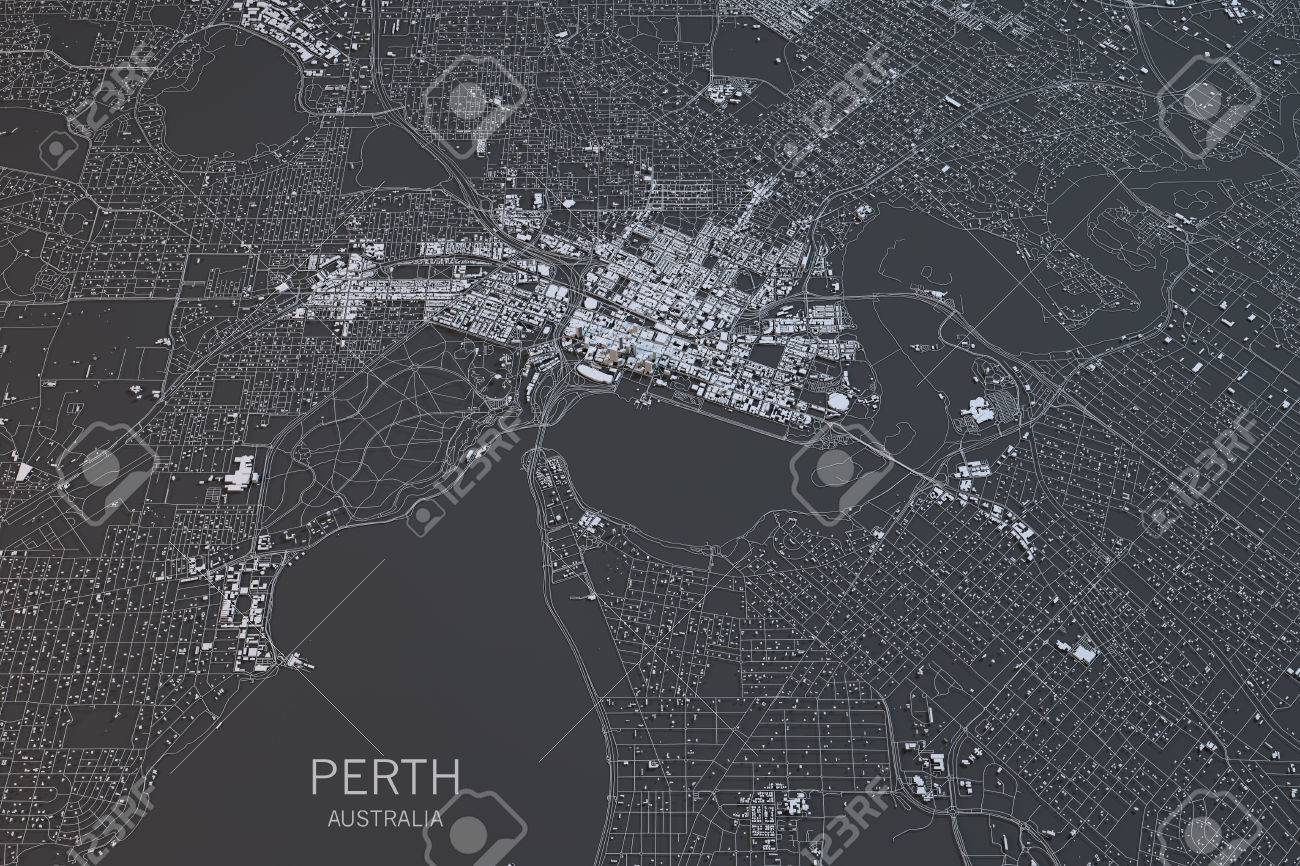 perth map satellite view city australia 3d rendering stock photo 64477538