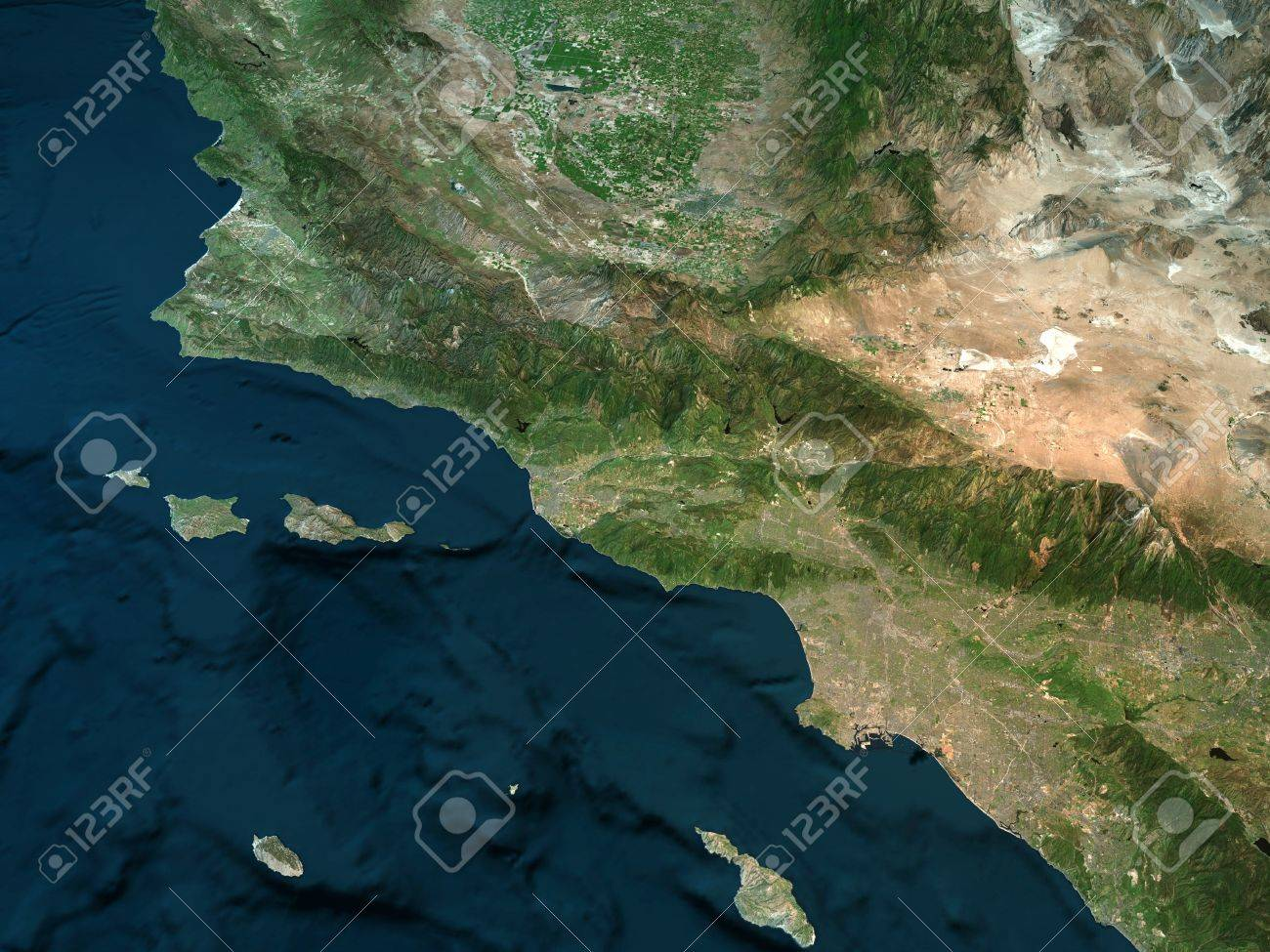 Picture of: Physical Map Of California Los Angeles Mountains Ocean And Stock Photo Picture And Royalty Free Image Image 86112475