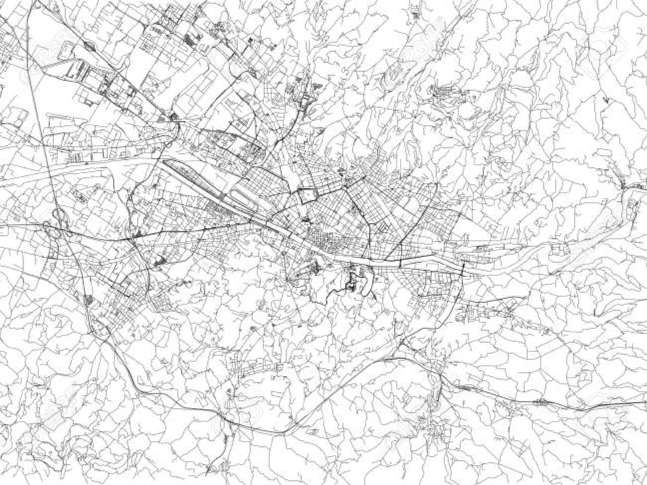 Firenze Cartina Geografica.Vettoriale Strade Di Firenze Mappa Della Citta Toscana Italia Cartina Stradale Image 90315553