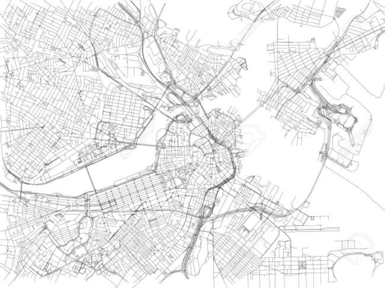 Boston Cartina Stati Uniti.Vettoriale Strade Di Boston Mappa Della Citta Massachusetts Stati Uniti Cartina Stradale Image 90438482