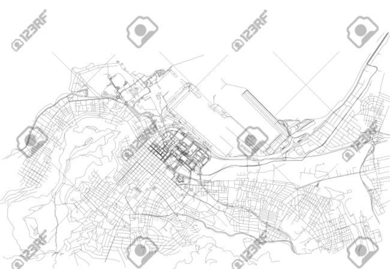 Streets Of Cape Town, City Map, South Africa. Street Map Royalty