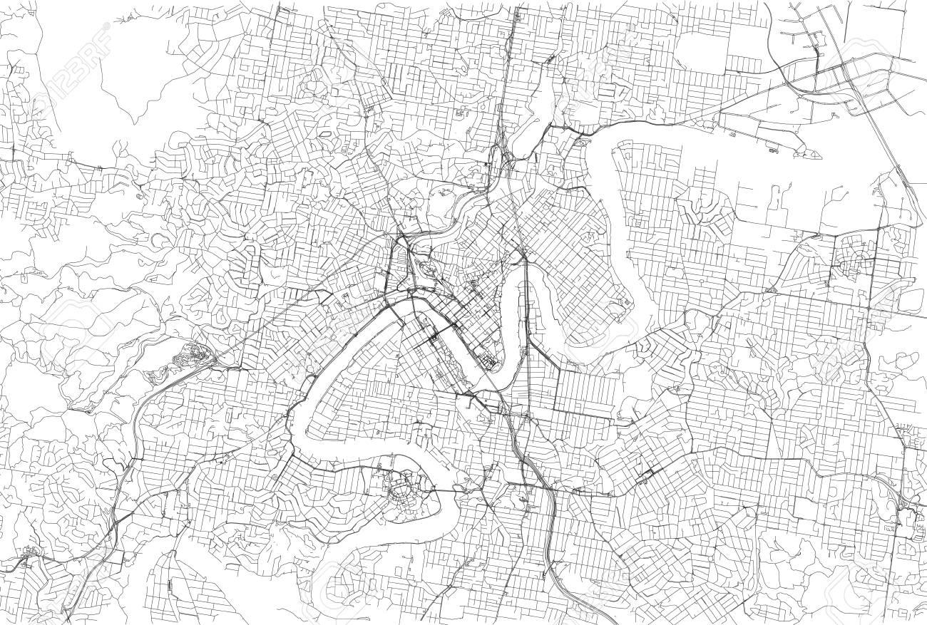 streets of brisbane city map australia street map stock vector 90743187