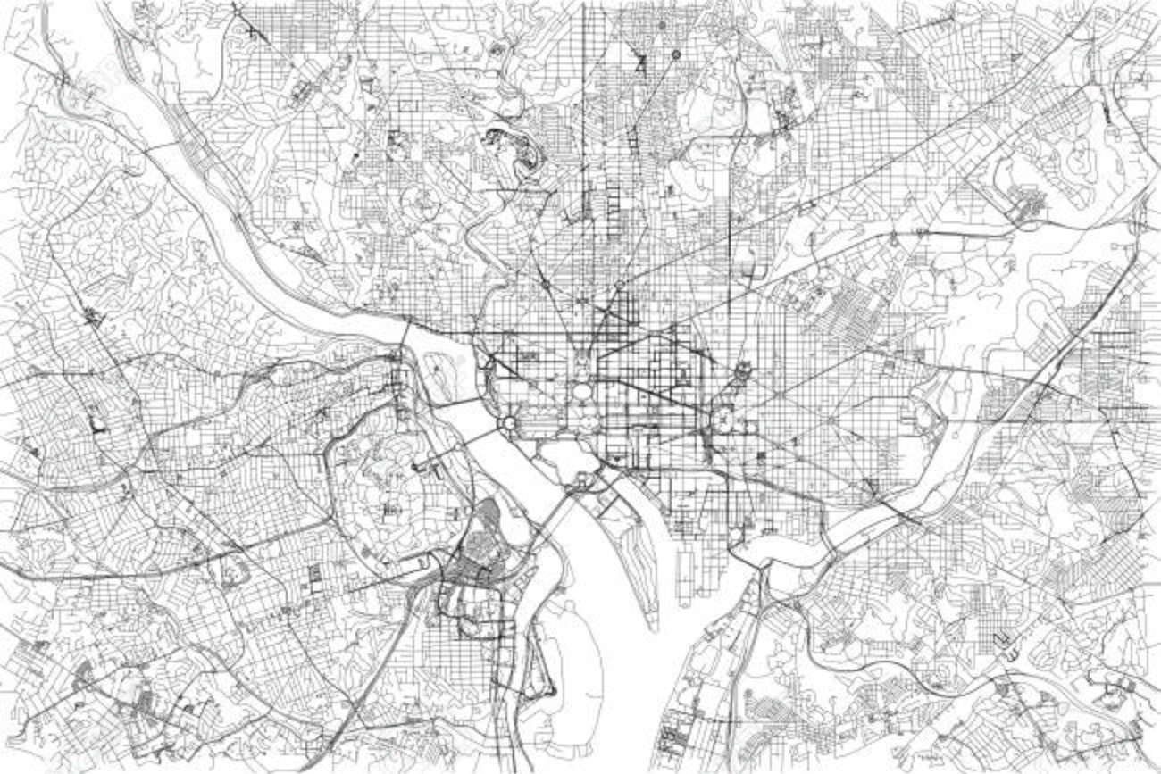 Streets of Washington, city map, United States. Street map
