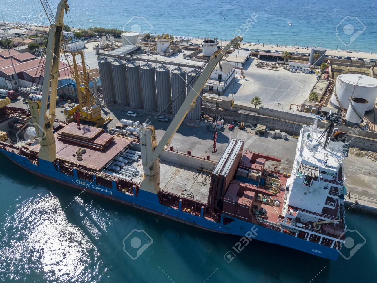 Cargo ship moored at the port of Vibo Marina, Calabria, Italy