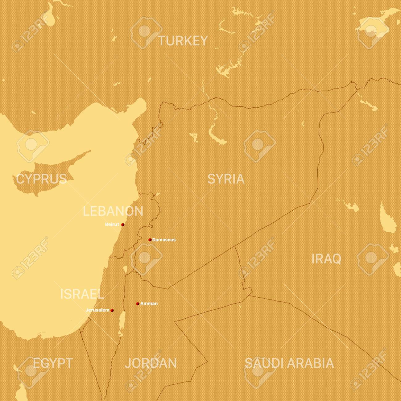 Map of Syria and borders, physical map Middle East, Arabian Peninsula,..