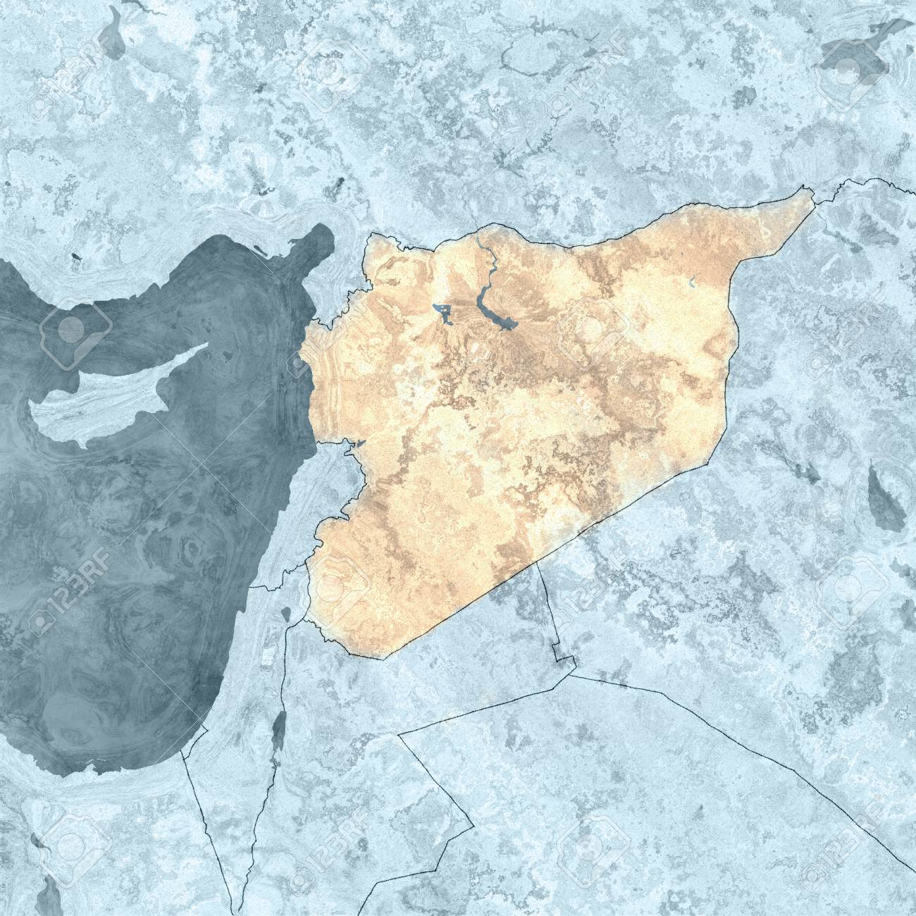 Picture of: Map Of Syria And Borders Physical Map Middle East Arabian Peninsula Stock Photo Picture And Royalty Free Image Image 99450798