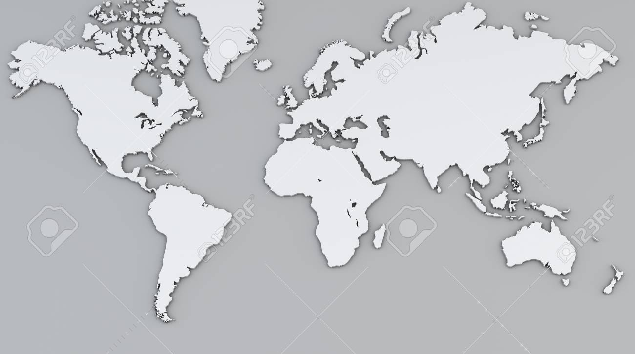 World Map, White Geographical Map, Physical. Stock Photo, Picture ...
