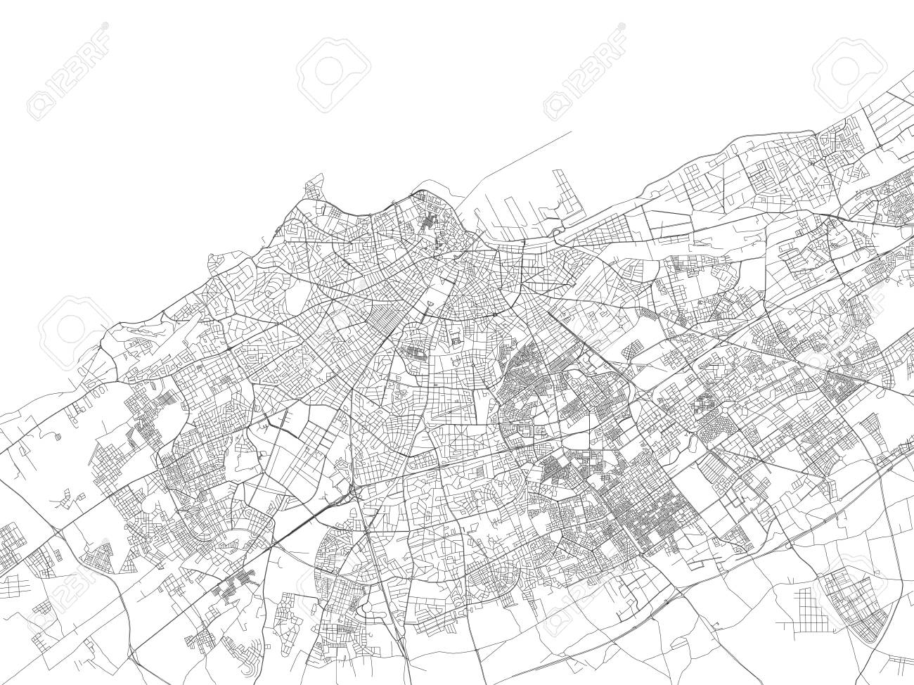 Streets of Casablanca, city map, Morocco, satellite view. Street on berlin germany map, mecca saudi arabia map, berber people, atlas mountains, sopot poland map, tangier location on map, lagos nigeria map, cairo egypt map, dubai map, brussels belgium map, tokyo japan map, ahaggar mountains map, tunis map, beirut lebanon map, khartoum sudan map, hassan ii mosque, riyadh saudi arabia map, algiers algeria map, casablanca tramway pluie, istanbul turkey map, world map, salvador brazil map, tel aviv israel map,