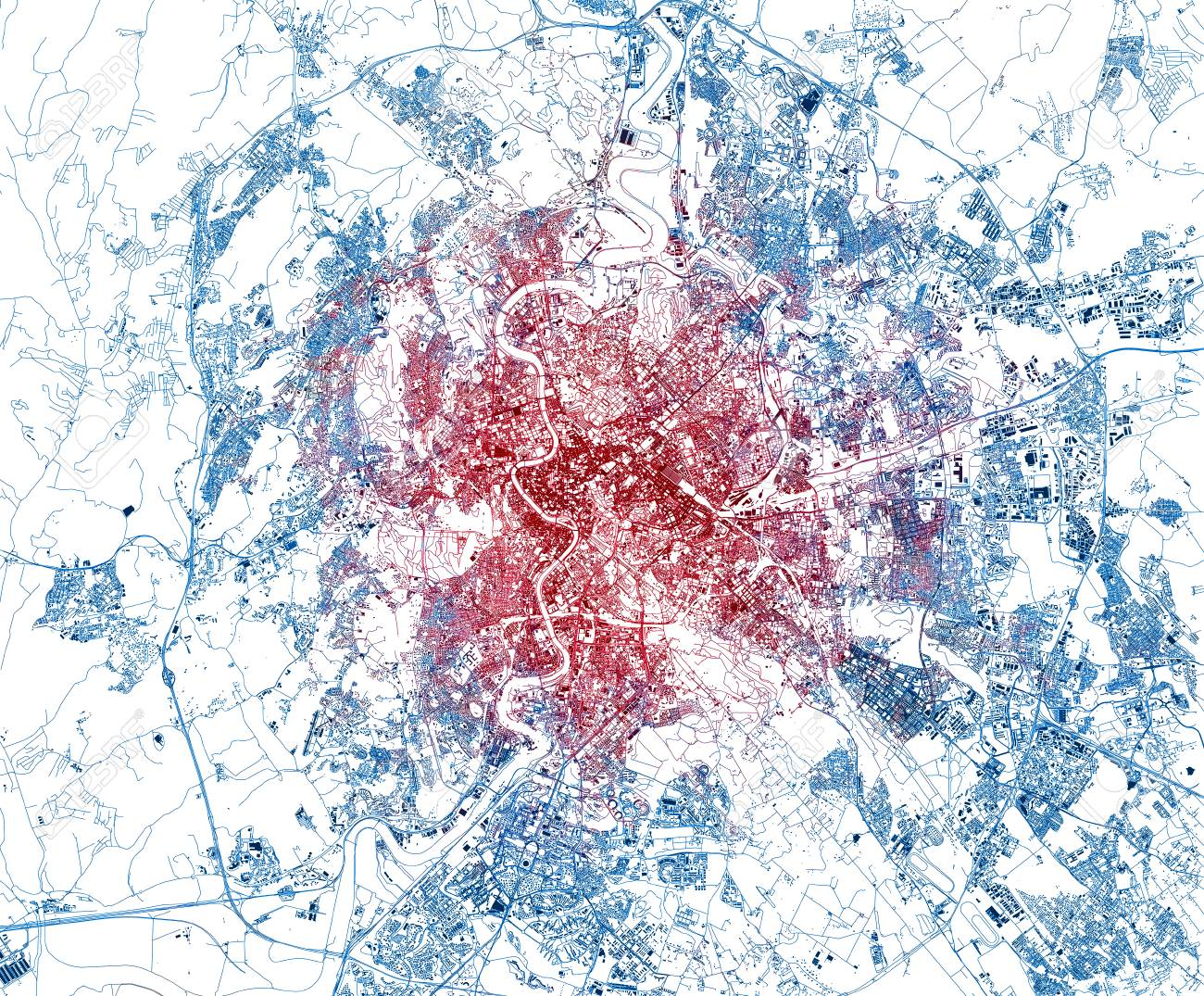Streets of Rome, city map, Italy, capital. Streets map