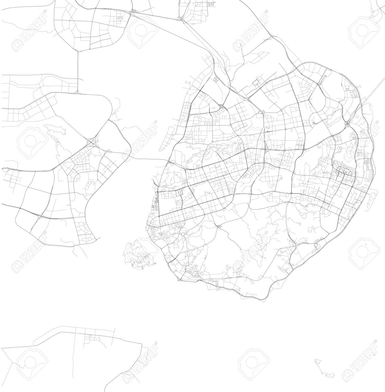 Xiamen China Map.Map Of Xiamen Fujian Province Satellite View Black And White