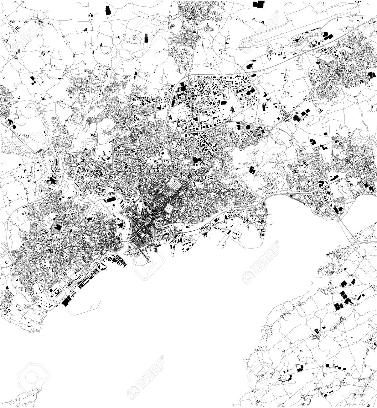 Map Of Brest France Satellite View Black And White Map Street