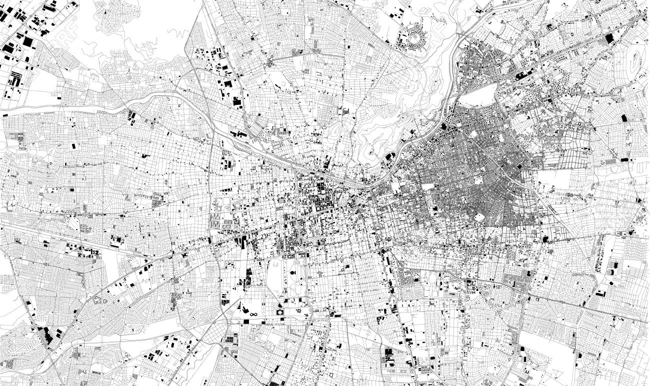 Satellite map of Santiago, Chile. Street map, city center. South..