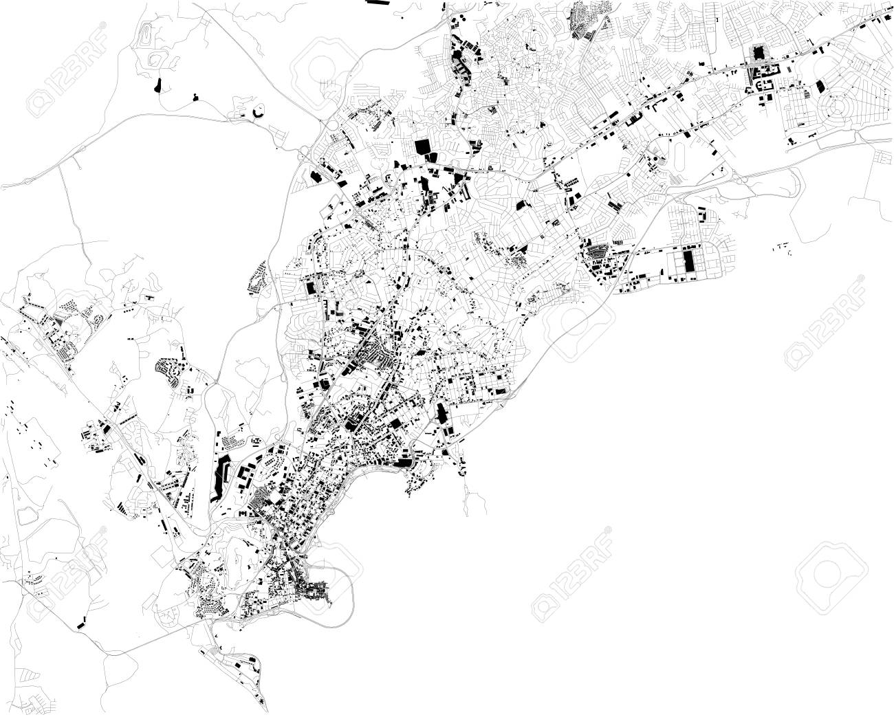 Satellite Map Of Panama City, Panama, City Streets. Street Map ...
