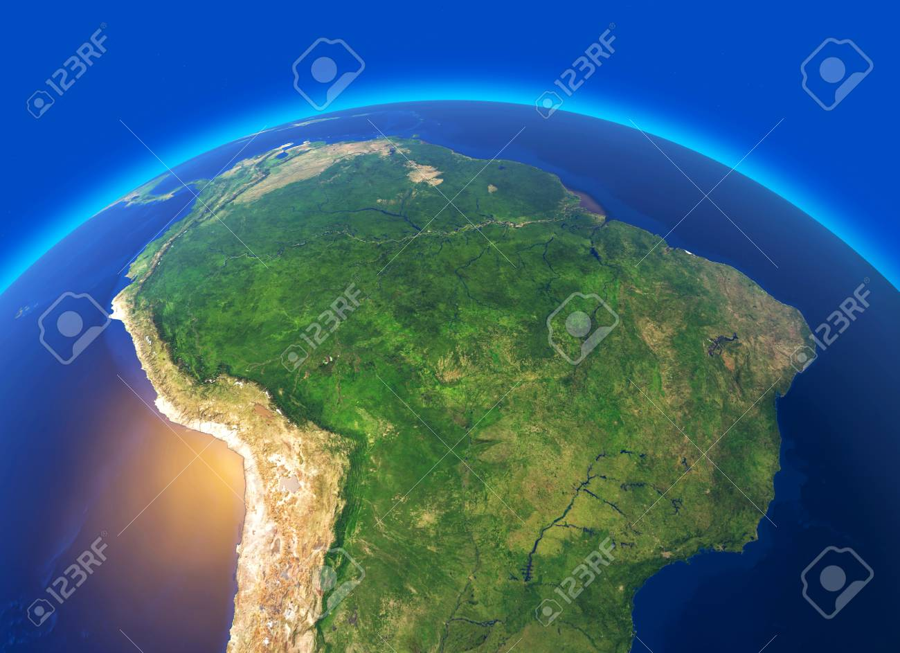 Satellite View Of The Amazon, Map, States Of South America, Reliefs on