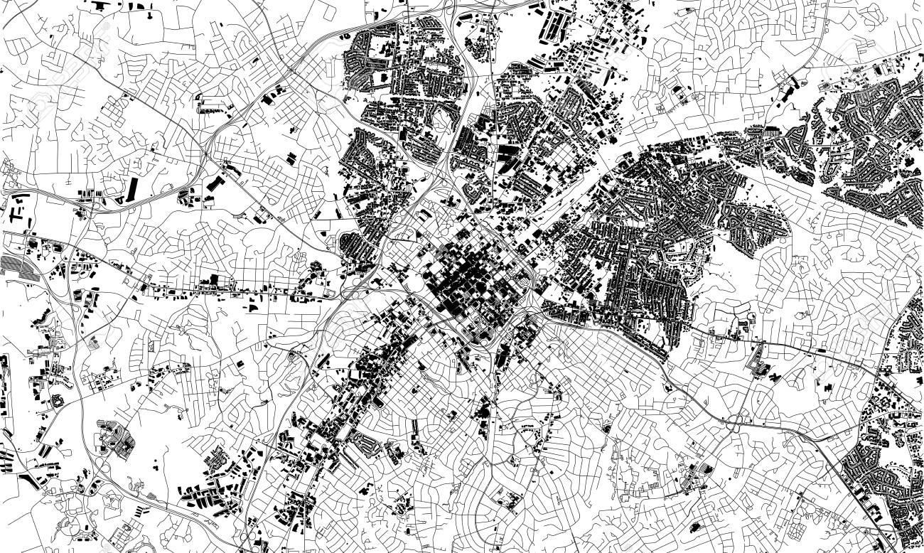 Satellite map of Charlotte, North Carolina, city streets. Street..