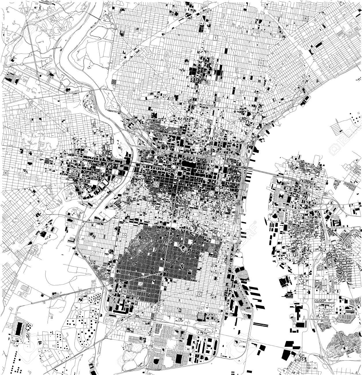 Satellite Map Of Philadelphia, Philly, Pennsylvania, City Streets ...