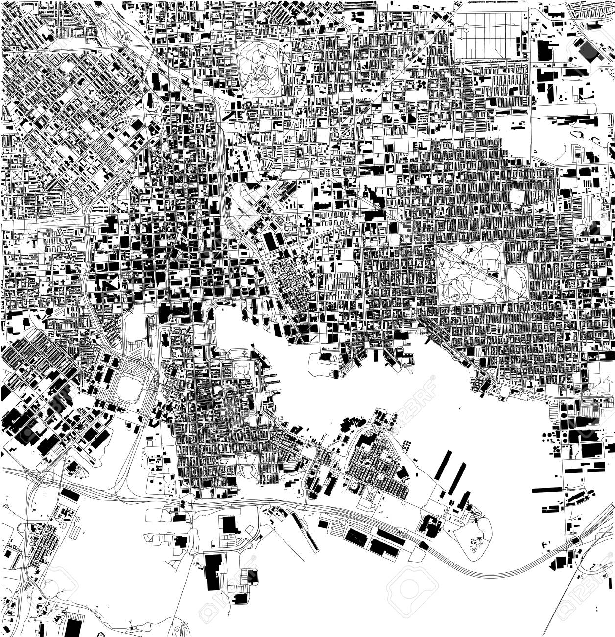 Satellite map of Baltimore, Maryland, city streets. Street map,.. on black and white portraits of women, latitude and longitude of usa, black and white map of asia,