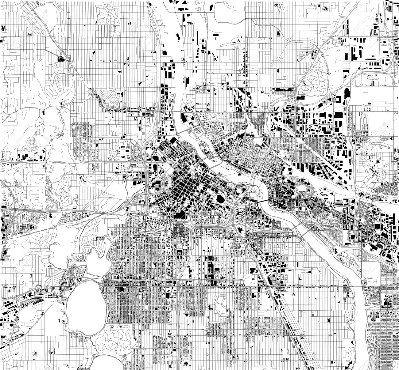 Satellite Map Of Minneapolis, Minnesota, USA, City Streets. Street ...