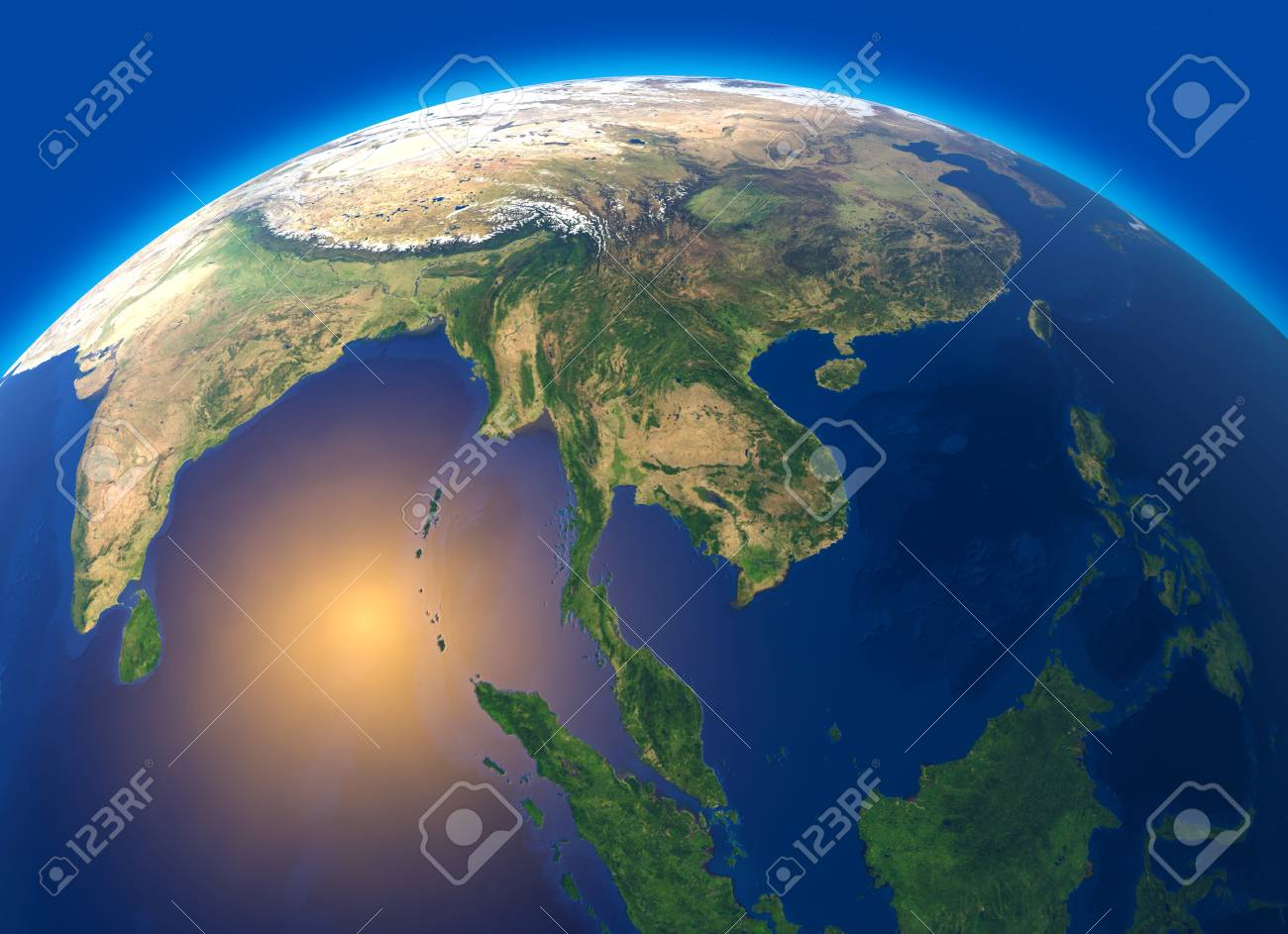Map Of The World Satellite.Physical Map Of The World Satellite View Of Southeast Asia Stock