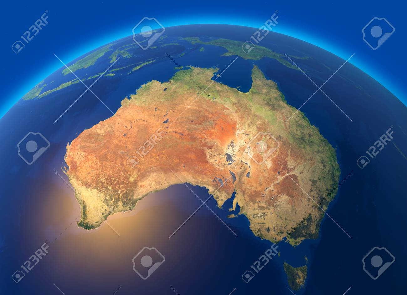 Physical Map Of The World, Satellite View Of Australia. Oceania ...