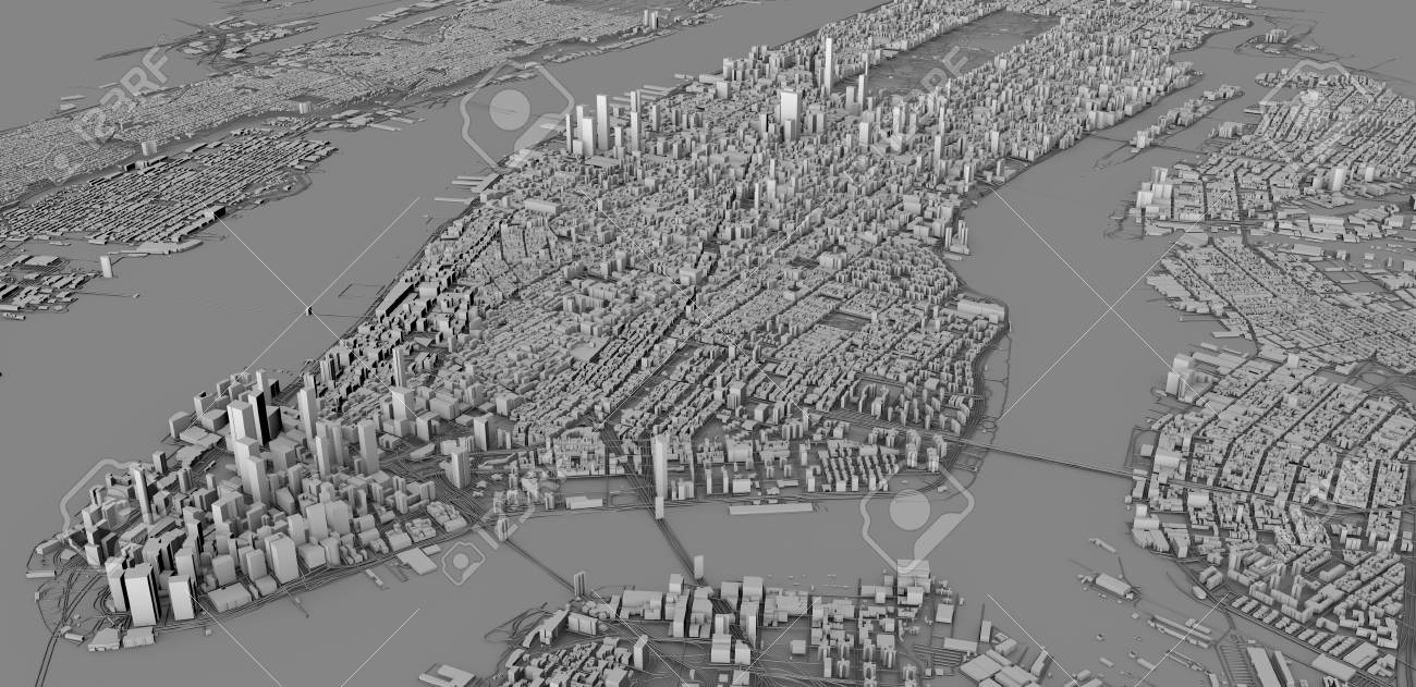 Map Of New York 3d.Satellite View Of New York City Map 3d Buildings 3d Render