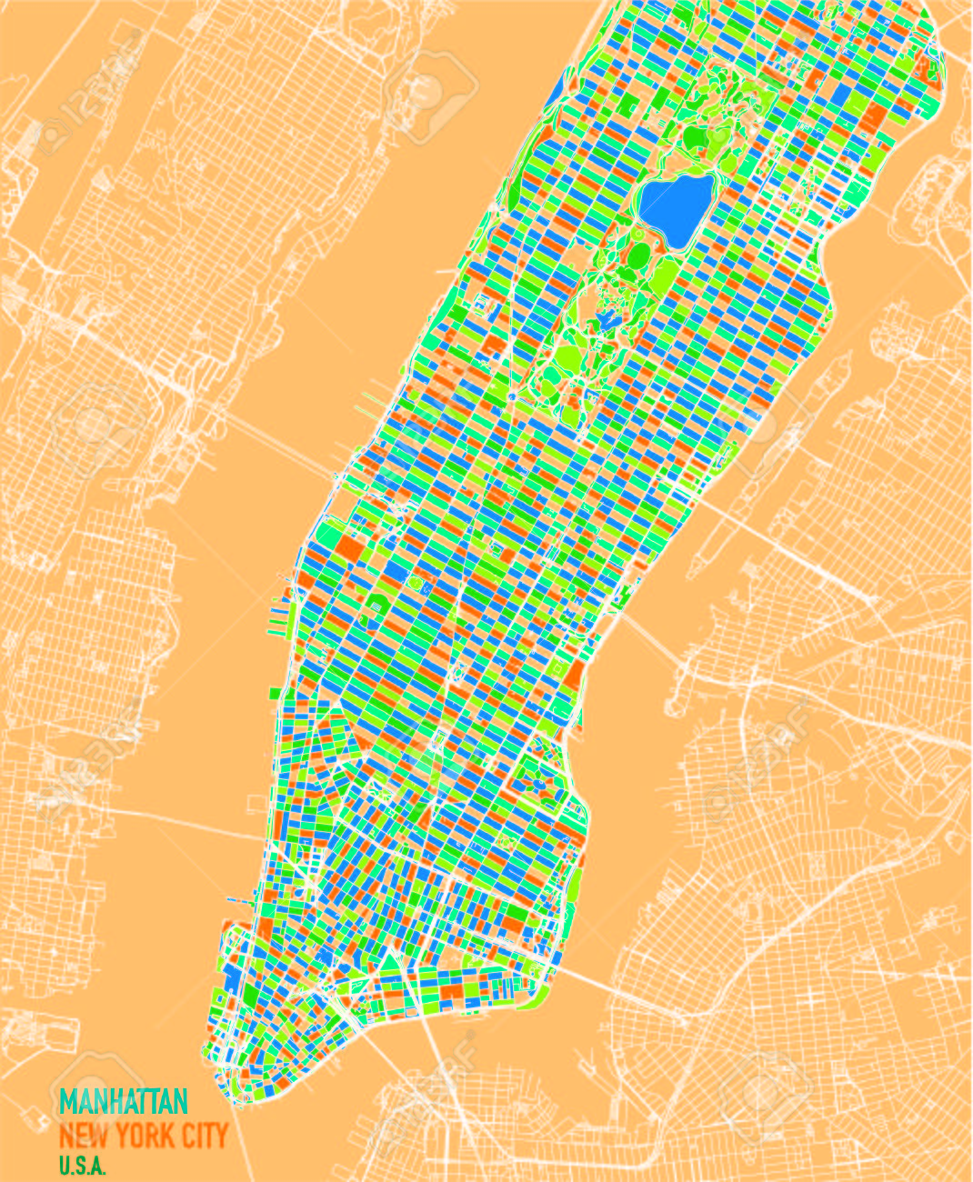 Map Of New York Neighborhoods Manhattan.Satellite Map Of New York City Manhattan Island Neighborhoods