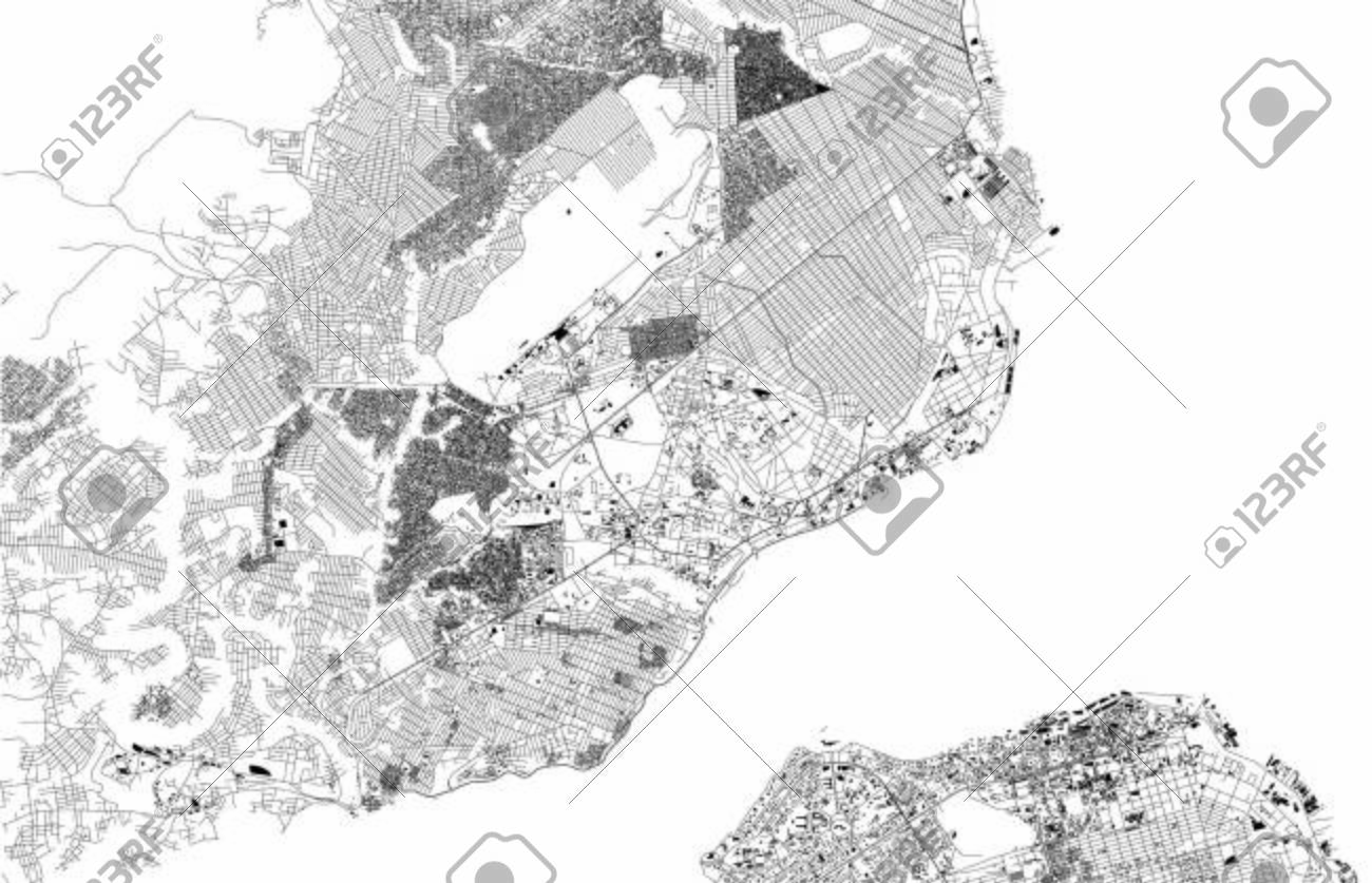 Satellite map of Brazzaville, is the capital and largest city..