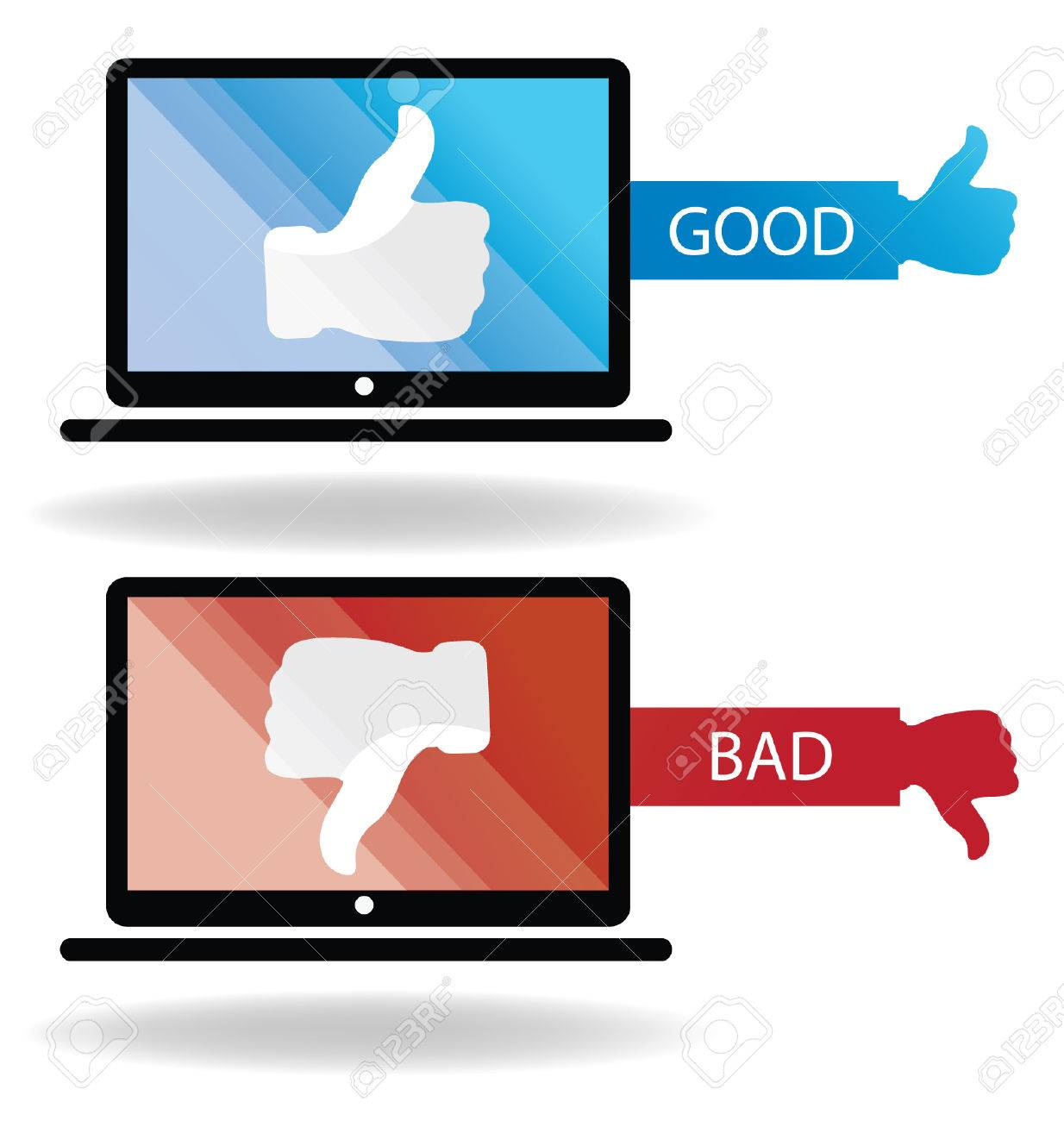 Social media  Hand signs vector  Good and bad concept Stock Vector - 24766697