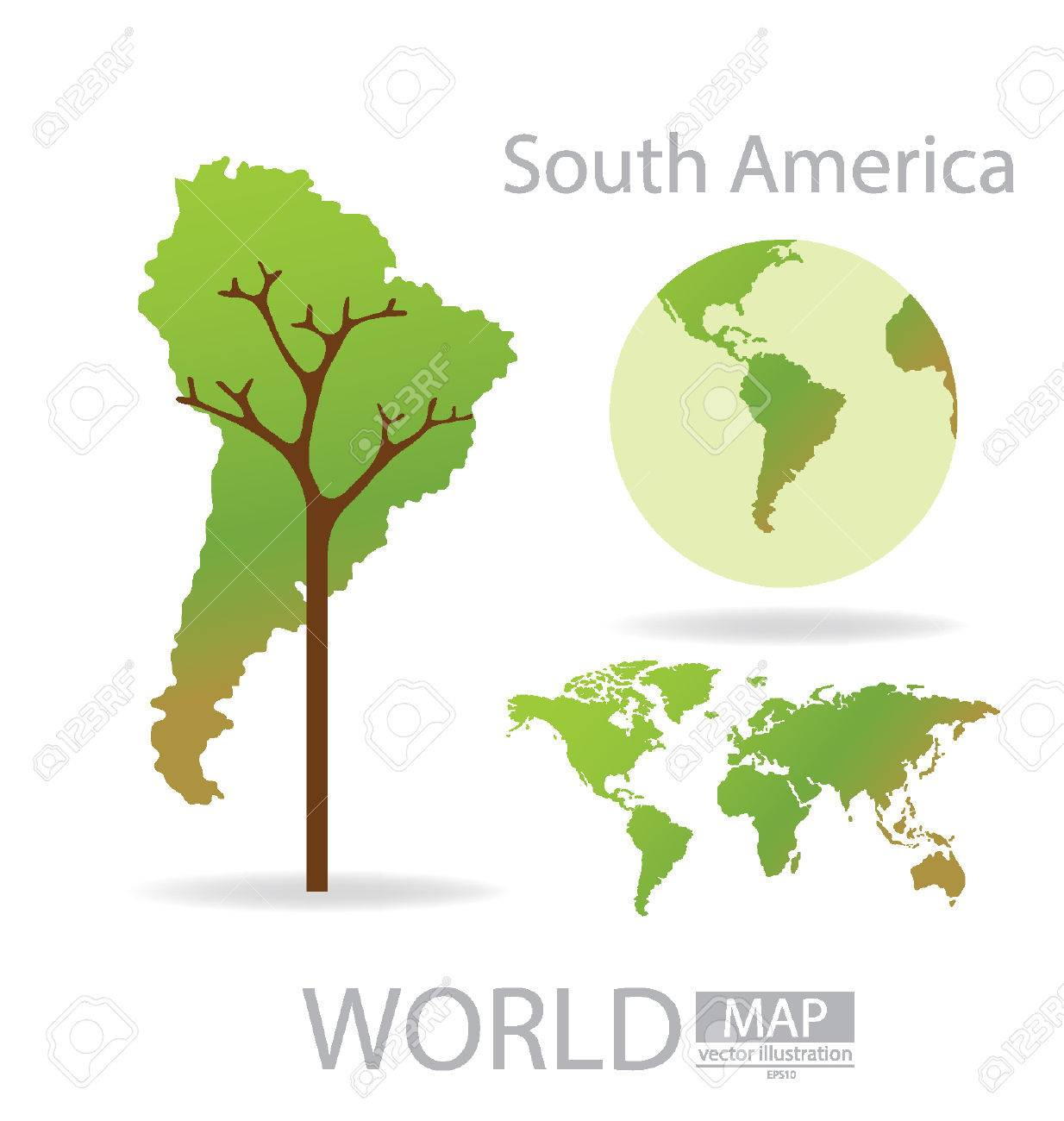 tree design south america world map vector illustration royalty