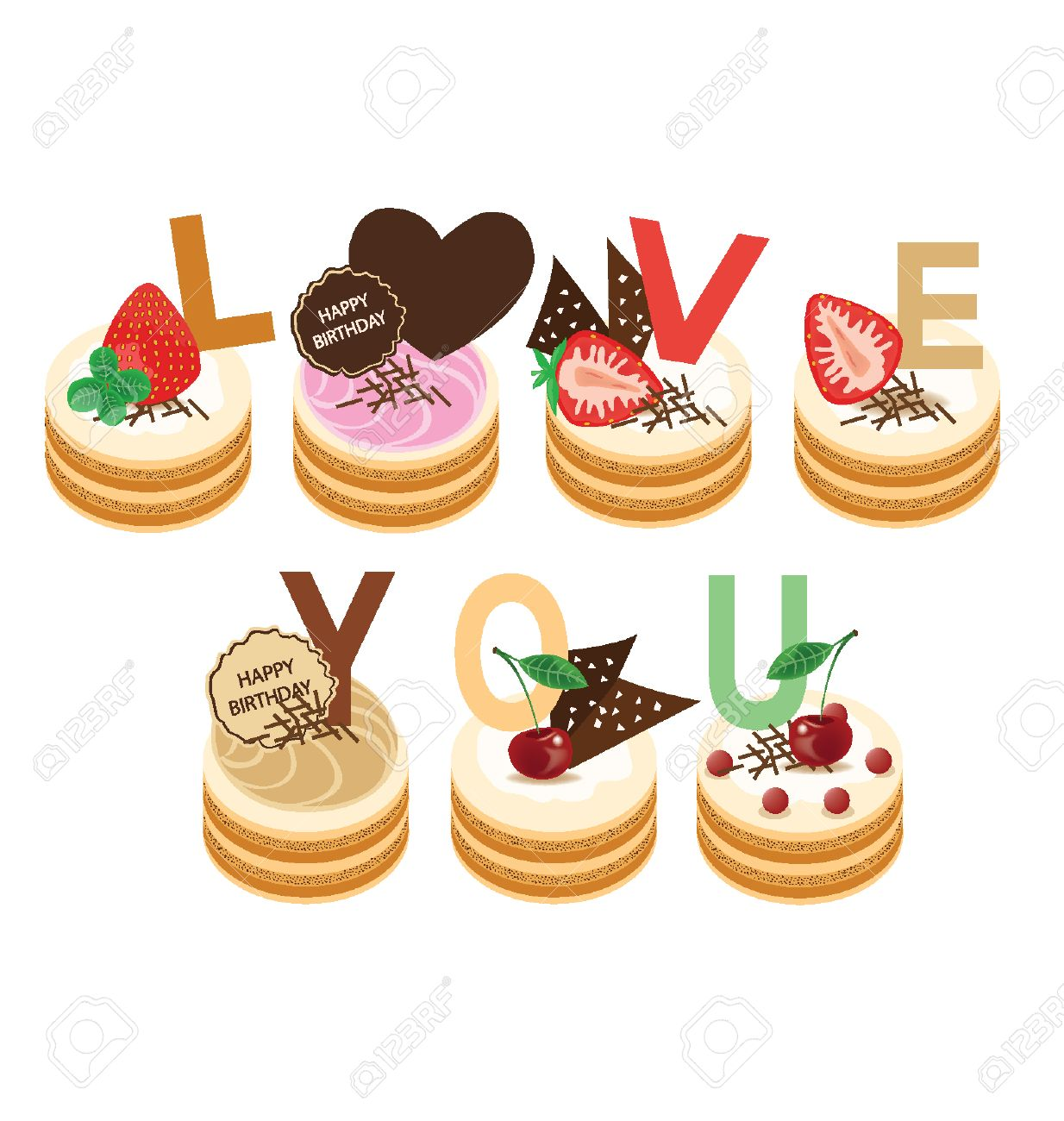 Magnificent Love You Happy Birthday Cake Illustration Royalty Free Cliparts Funny Birthday Cards Online Inifofree Goldxyz