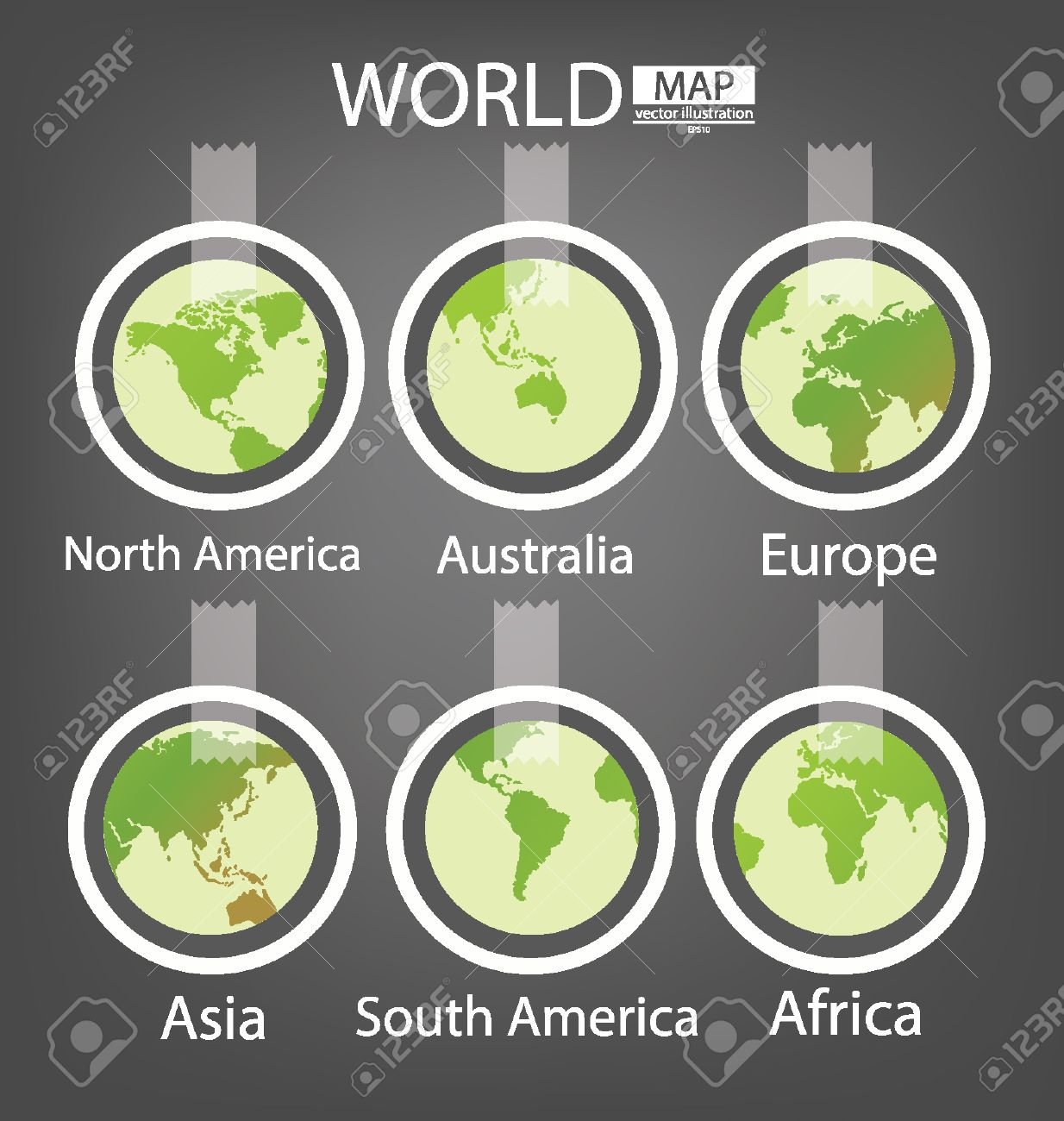Sticker africa asia australia europe north america royalty world map vector illustration sticker africa asia australia europe north america south america gumiabroncs Images